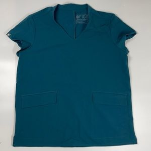Figs Technical Collection V-Neck Two Pocket Scrubs Top Teal S